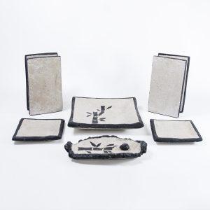 Altar budista bordes negros en pasta piedra