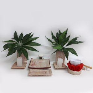 Altar budista marmolado rojo+gong chico
