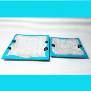 Juego dos platos en pasta piedra en turquesa y vitro