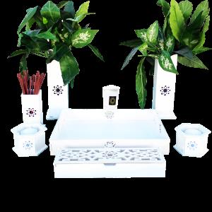 Altar budista Soka blanco doble completo