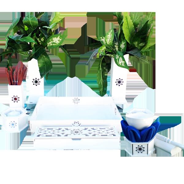 Altar budista Soka blanco con gong chico