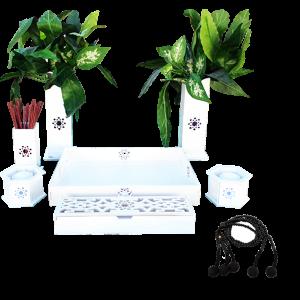 Combo Altar budista Soka blanco y juzu madera grande