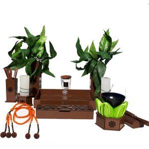 Altar budista Soka marrón+gong+juzu madera