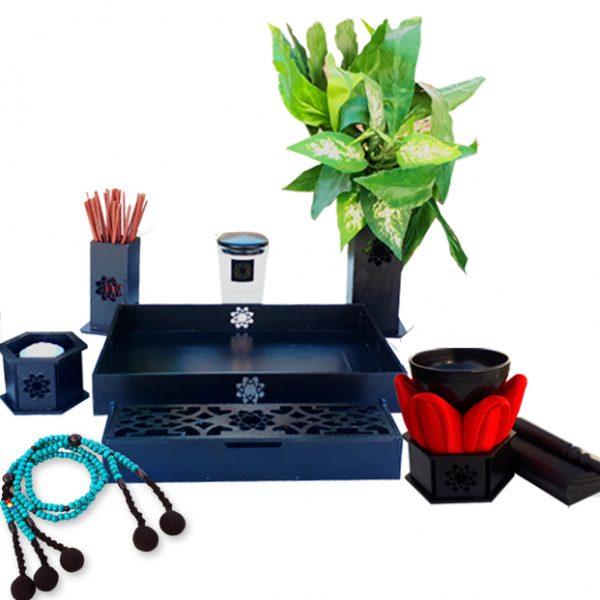 Altar budista Soka negro simple+gong+juzu